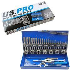 US PRO 32pc METRIC TAP & DIE SET M3 M4 M5 M6 M8 M10 M12 taper plug bottoming