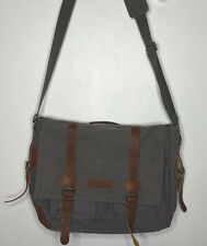 Sweetbriar Laptop Messenger Bag Briefcase Brown Canvas Leather Shoulder Strap