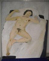 """Dieter Ruckhaberle, """"Berliner Neue Wilde"""", Weiblicher Akt, Öl, signiert, 1995"""