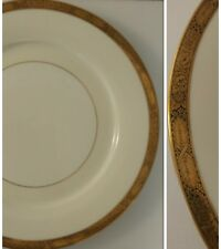 "Noritake GOLDKIN 5675 * 8 1/4"" SALAD PLATE Wide Gold and Black Band Cream & Wht"