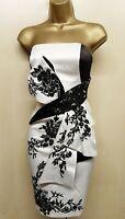 KAREN MILLEN 10 UK White Chinese Oriental Floral Embroidered Strapless Dress