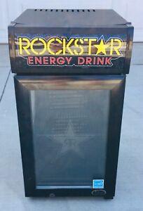 Rockstar Energy Drink MINI FRIDGE Party Refrigerator Cooler Black Tested