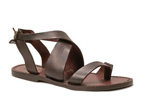 Women ankle strap flip flop sandals in Dark Brown Leather handmade in Italy