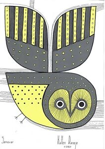 original painting A4 105SO art samovar Mixed Media modern animal bird owl