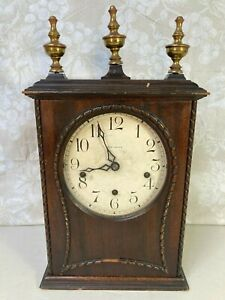 New Haven Musical Mahogany Clock Runs w/ Winterhalder & Hofmeier Movement