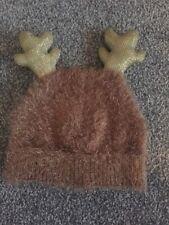 BNWOT Tan Brown Hat With Reindeer Antlers Age 6 - 7 Yrs