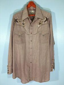 Vintage 80s MWG Western Rockabilly Cowboy Pearl Snap Long sleeved Folk Shirt XL