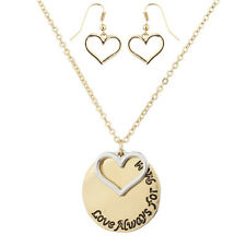 Lux Accessories Gold Tone Love Always For Mom Engraved Charm Necklace Set (2PCS)