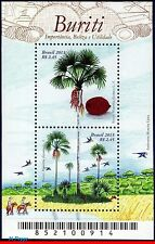 3264 BRAZIL 2013 - BURITI, FRUITS, TREE, MACAWS, GROVE, BIRDS, S/S MNH