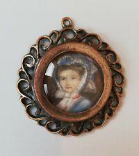 antique portrait painting miniature  1800 - victorian medalion medal