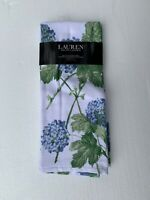 NEW Ralph Lauren 2pc Cotton Blue & White Wild Floral Kitchen Towel