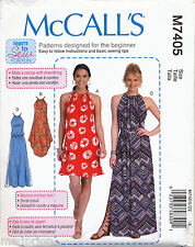MCCALL'S SEWING PATTERN 7405 MISSES 16-26 EASY DRAWSTRING DRESS, MAXI PLUS SIZES