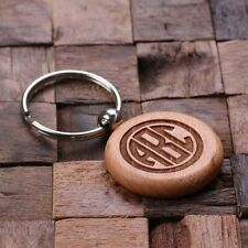 Bespoke Wooden Round Key Chain Keyring Key Fob - Add a name, room number or logo