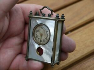 French Antique LANCEL Brevet Miniature Carriage Clock MOTHER OF PEARL MOP BRASS