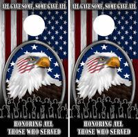 Cornhole Board Wraps US Veteran American Flag Bald Eagle Honor Military Vets  01