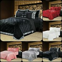 Super soft Crushed Velvet Quilted Bedspread Throw 3 Piece Luxury Bedding Set