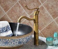 Carved Antique Brass Bathroom Basin Faucet Single Handle Mixer Tap fan014