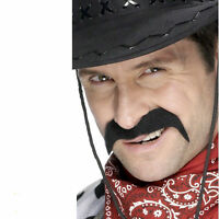 Black Cowboy Moustache Wild West Mens Western Fancy Dress Accessory