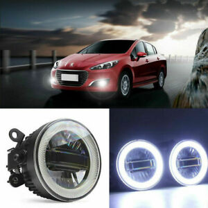 3in1 LED COB Angel Eyes+DRLs+Projector Lens Foglights Fit For Peugeot Series