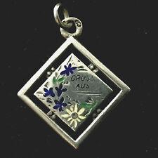 Charm Antiker AnhÄNger Email C16 Antique Art Nouveau Silver Enemal Bracelet
