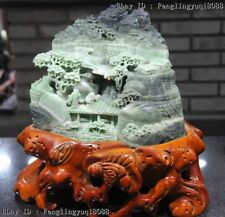 China Natural Green Dushan Jade Mountain Water Old Man Children Sculpture Statue