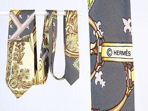 Men's HERMES Print Gray & Yellow 100% Silk Tie