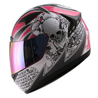 NEW 1STORM DOT MOTORCYCLE STREET BIKE FULL FACE HELMET BOOSTER SKULL PINK HG335