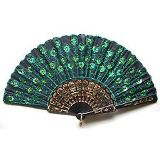 Beautiful Lady's Silk Hand Fan with Green Sequins N3