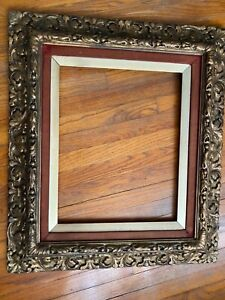 """Antique Victorian Ornate Gilt Wood & Gesso Carved Picture Frame 28"""" x 32"""""""