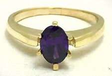 GENUINE 0.85 Carats AMETHYST RING 14k YELLOW GOLD *Free Shipping Service*