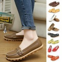 US Women's Boat Shoes Summer Casual Flats Lady Ballet Leather Loafers Antiskid