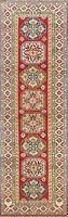 Geometric Vegetable Dye Super Kazak Oriental Runner Rug Hand-knotted Wool 3x10