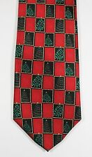 Men's Red Silk CHRISTMAS TREE Necktie with Check Pattern - Festive Occasions Tie