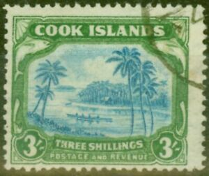 Cook Islands 1938 3s Greenish Blue & blue SG129 Fine Used