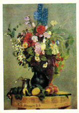 1969 Russian postcard FLOWERS IN VASE AND FRUITS ON THE TABLE by I.Repin