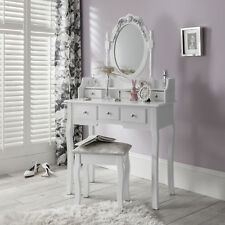 Capri White Dressing Table Mirror and Stool Set Dresser