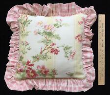 Pillow Throw Decorative Pink Ruffled Edge Floral Flower Print Prim Rose Handmade