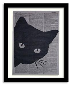 Black Cat Peeking Wall Print No.69, funny cat poster, cute cat prints