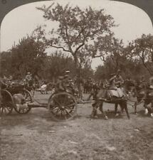 An urgent Call Has The Royal Artillery Hooking-Up & Moving Off - WW1 Stereoview