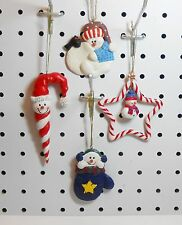 SNOWMEN ORNAMENTS - CANDY CANE, MITTEN SNOWBALL - RESIN, CLAY & GLASS - SET OF 4