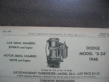 1946 DODGE D-24, CARTER CARBURETOR SPEC, INFO SHEET
