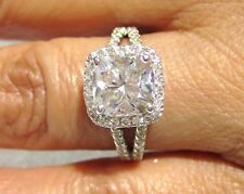 8MM CUSHION CUT CHARLES & COLVARD MOISSANITE WITH DIAMOND SIDE STONES C21