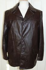 MEN'S VINTAGE COOPER BROWN LEATHER 3 BUTTON LEATHER JACKET/COAT sz 42 USA MADE