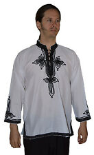 Moroccan Men Tunic Shirt Cafan Casual Handmade Embroidered Cotton MED/LG White