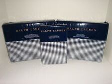 Ralph Lauren Screening Room Mattea Queen Sheet Set Navy Cream Cotton $560
