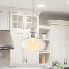 Cordelia Lighting 1-Light Brushed Nickel Hanging Pendant, Clear Glass Shade