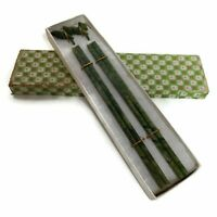 2 Pair Natural Jade Chinese Chopsticks Nephrite Spinach W+ fish Rests Vintage