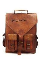 """Men's 18"""" Leather Travel Addict Laptop Backpack Rucksack Messenger Satchel Bag"""