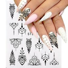 Nail Art Water Decals Stickers Transfers Black Tribal Necklace Gems Dots (S677)