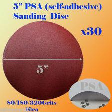 "30x 5"" PSA Self Adhesive 80/180/320  Grit Sand Disc Stick On Sandpaper Peel"